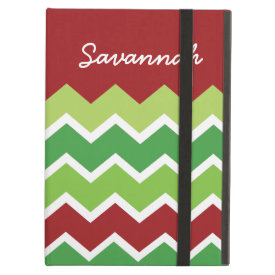 Personalized Red Green Chevron Zigzag Pattern iPad Cover