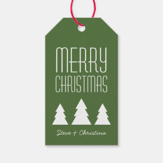 Personalized Red & Green Merry Christmas Gift Tags