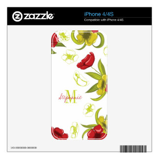 Personalized red + green poppy flowers iphone skin decal for iPhone 4