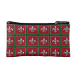 Personalized Red Green Silver Fleur de Lis Cosmetic Bag