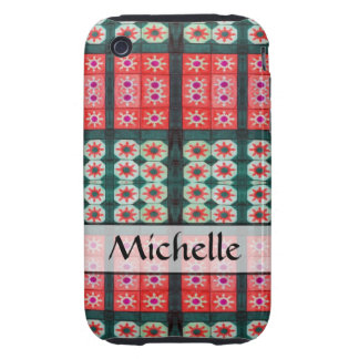 personalized red green tile pattern iPhone 3 tough covers