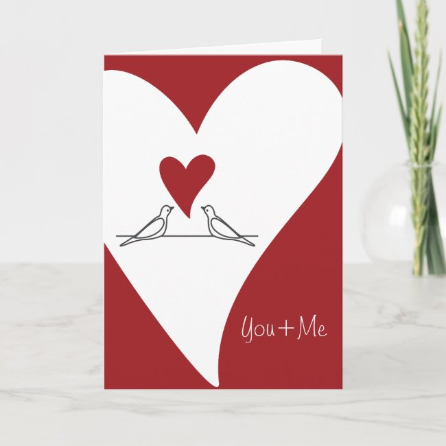 Personalized Red Heart and White Birds Love
