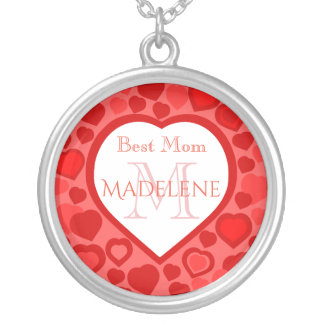 Personalized red heart monogram silver plated necklace