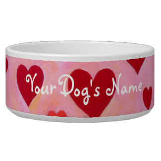 Personalized Red Hearts Painting Bowl