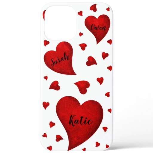 Personalized Red Hearts White iPhone 12 Pro Max Case