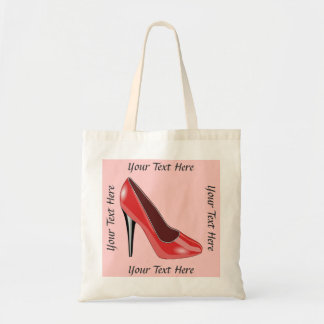 Personalized Red High Heel Shoe Tote Bag