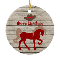 Personalized Red Horse and Cowboy Hat Christmas Ceramic Ornament