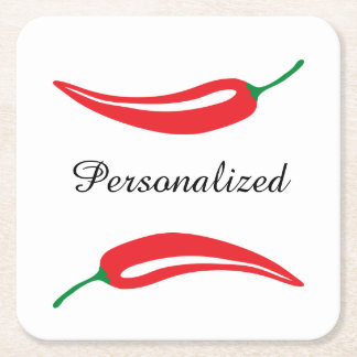 Personalized red hot chili pepper coasters