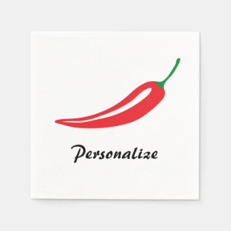 Personalized red hot chili pepper paper napkins