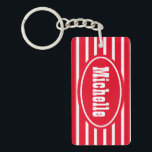 "Personalized Red HS Western Keychain<br><div class=""desc"">personalized red and white horizontal striped double sided acrylic rectangle key chain</div>"