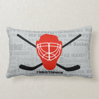 Personalized Red Ice Hockey Helmet and Sticks Lumbar Pillow