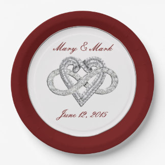 """Personalized Red Infinity Heart 9"""" Paper Plate"""