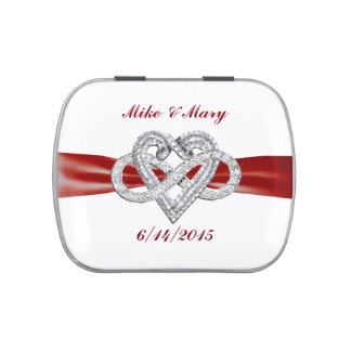 Personalized Red Infinity Heart Candy Tin
