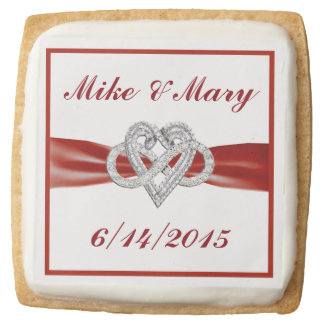 Personalized Red Infinity Heart Shortbread Cookies