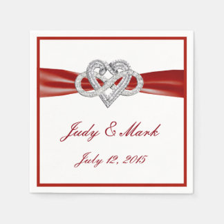 Personalized Red Infinity Heart Wedding Napkins Standard Cocktail Napkin