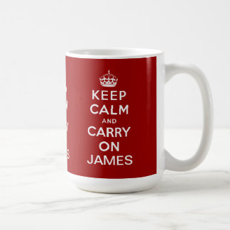 Personalized Red Keep Calm and Carry On Coffee Mug