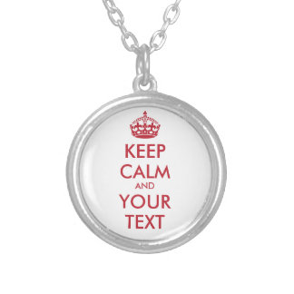 Personalized red KEEP CALM and YOUR TEXT Silver Plated Necklace