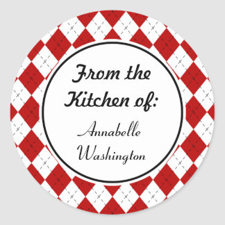 Personalized Red Kitchen Baking Stickers