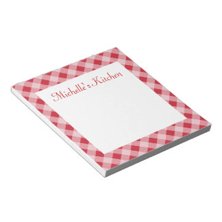 Personalized Red Kitchen Grocery List Notepad Gift
