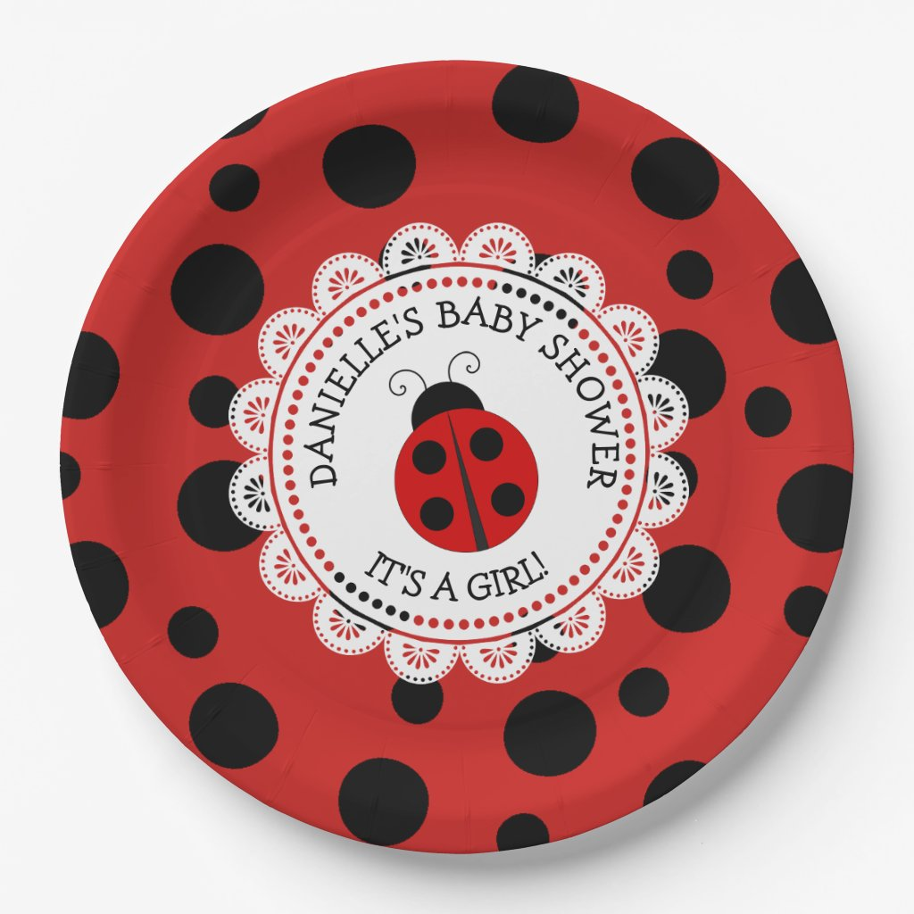 Personalized Red Ladybug Baby Shower Paper Plates