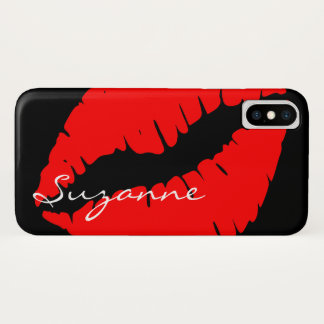 Personalized Red Lips iPhone X Case