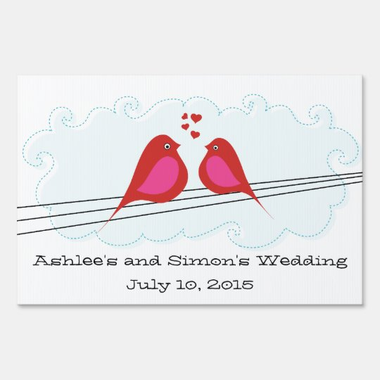 Personalized Red Love Birds Wedding Sign