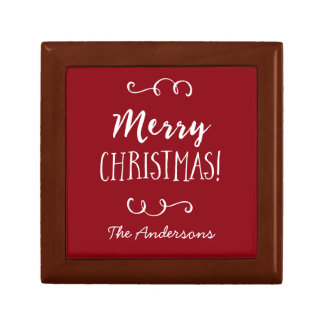 Personalized Red Merry Christmas Jewelry Box