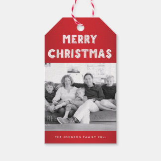 Personalized Red Merry Christmas Photo Gift Tags