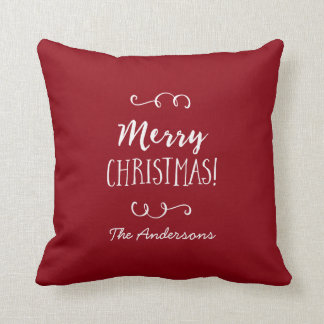 Personalized Red Merry Christmas Throw Pillow