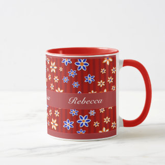 Personalized red orange and blue floral mug