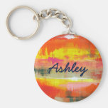 Personalized Red Orange Yellow Abstract Art Basic Round Button Keychain