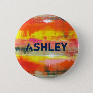 Personalized  Red Orange Yellow Abstract Art Pinback Button