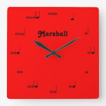 Personalized Red Original Music Note Clock at Zazzle