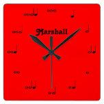 Personalized Red Original Music Note Clock