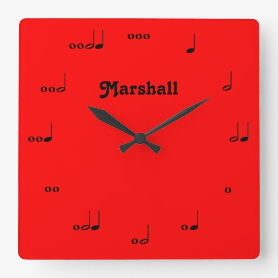 Personalized Red Original Music Note Clock