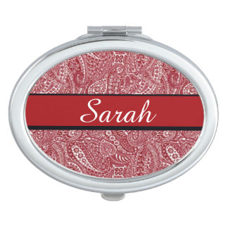 Personalized Red Paisley Mirror Compact Template Vanity Mirrors