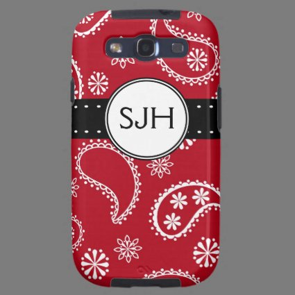 Personalized Red Paisley Pattern Galaxy S3 Covers