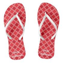 Personalized Red Patterned Teacher  Flip Flops