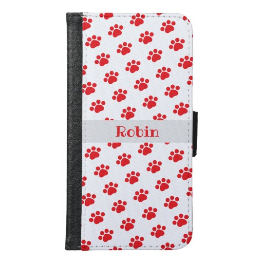 3088ea48c0a Personalized Red Paw Print Pattern Samsung Galaxy S6 Wallet Case ...