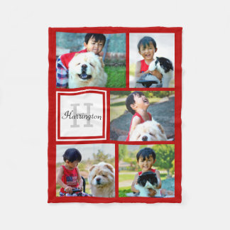 Personalized Red Photo Collage Monogrammed Gift Fleece Blanket