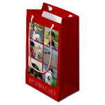 Personalized Red Photo Mosaic Picture Collage Small Gift Bag