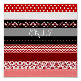 Personalized Red Pink Black White Washi Tape Look Poster