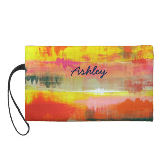 Personalized Red Pink Yellow Abstract Art Wristlet Purse