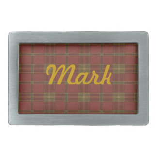 Personalized Red Plaid Belt Buckle