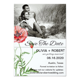 Personalized Red Poppies Simplicity Save The Date Card