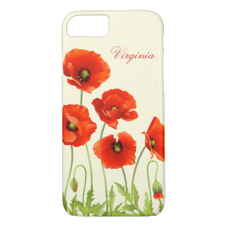 Personalized Red Poppy Flowers iPhone 7 case