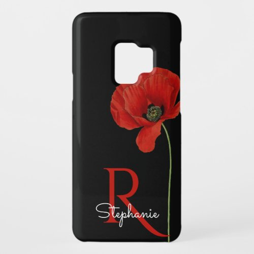 Personalized Red Poppy on Black Monogrammed Phone Case
