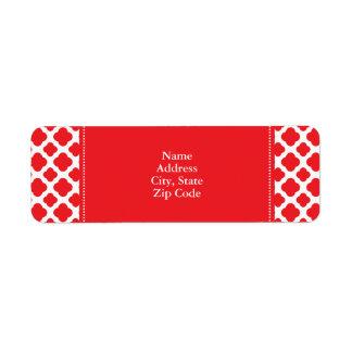 Personalized Red Quatrefoil Pattern Label