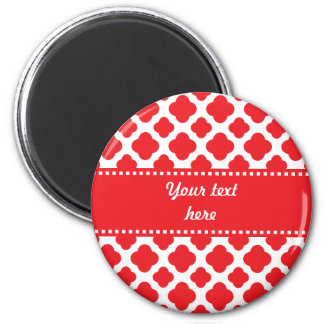 Personalized Red Quatrefoil Pattern 2 Inch Round Magnet