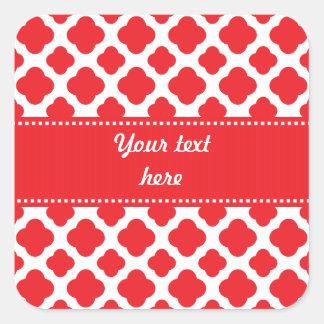 Personalized Red Quatrefoil Pattern Square Sticker
